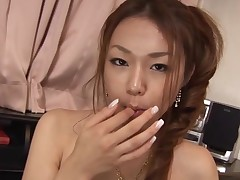 Breasty Oriental gal with curly muff feels dick and muff in hole